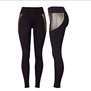 Pants - Black and gold leggings with pockets